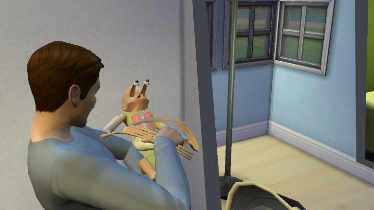 """Sims 4 - Бебе-чудовище  Sims 4 e съвсем невинна игра, в която работите, създавате семейство, общувате с други герои и живеете един пълноценен виртуален живот. Същият този живот обаче може да ви изненада неприятно, ако се окажете родители на древен зловещ демон, приел невинната форма на вашето бебе. Е, """"невинна"""" е доста условно казано, защото само един поглед към това чудовище в пелени е достатъчен, за да ви разберете, че ви чакат тежки времена, в които бебешките пюрета и яслата далеч няма да са най-големите ви проблеми."""