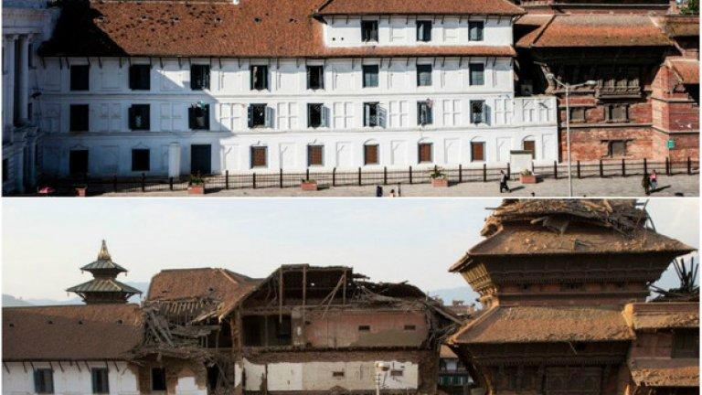 Площад Дурбар - преди и след земетресението