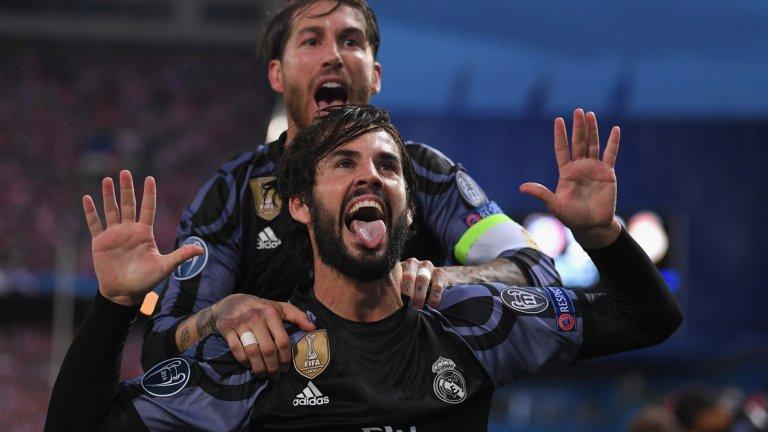 Иско се радва след гола, който в края на първото полувреме съсипа надеждите на Атлетико за обрат
