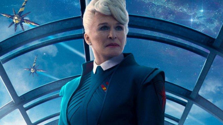 """Глен Клоуз  Точно така, и тя е в кюпа, макар и с една по-скромна роля. В първия """"Пазителите на галактиката"""" (2014 г.) Клоуз играе Ирани Раел, позната като Нова Прайм - ръководителка на междугалактическа армия, която едва ли не отговаря за сигурността на цяла галактика. По думите на актрисата, тя се е съгласила да участва във филма на Джеймс Гън, защото е искала да направи нещо различно. И дори защитава успеха на филма в интервю за Variety, като посочва, че той """"има сърце""""."""
