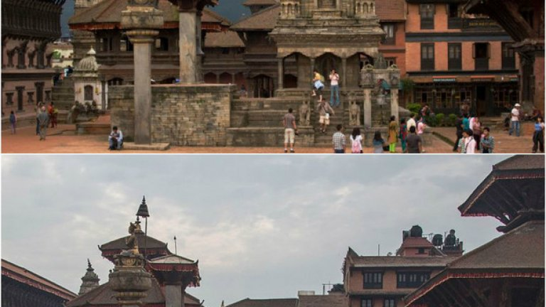 Катманду - преди и след земетресението