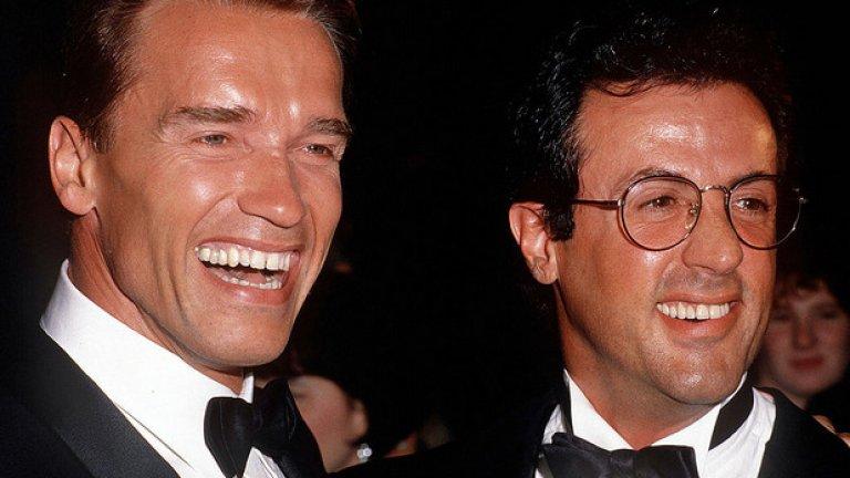 Със своя приятел и партньор в редица проекти Силвестър Сталоун през 1991 година.