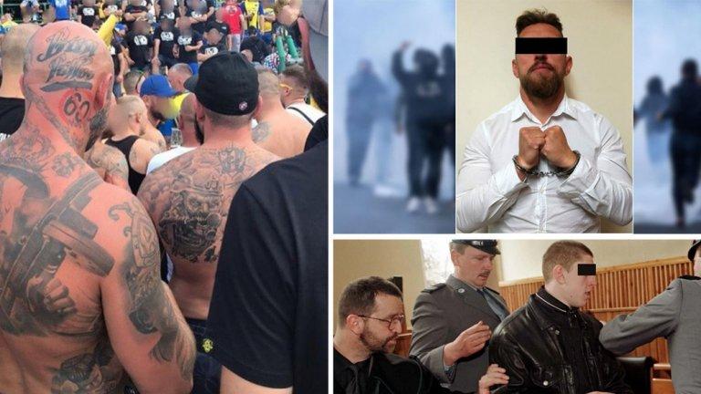 Хората вляво със задрасканото 60 на главите си очакват с нетърпение Мишек да излезе от затвора.
