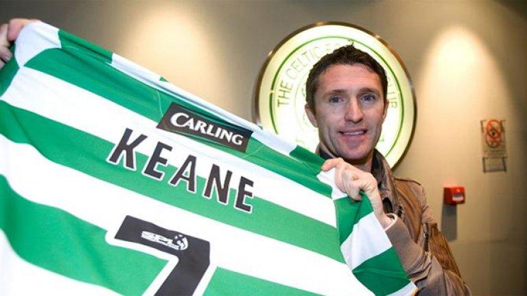 """Роби Кийн От Тотнъм в Селтик През 2010 Кийн се оказа ненужен в Тотнъм и ирландският национал се отправи към Шотландия, където се представи повече от впечатляващо. Кийн се присъедини към Селтик през януари 2010, но стана """"Играч на сезона"""" на клуба и вкара 16 гола в 19 мача."""