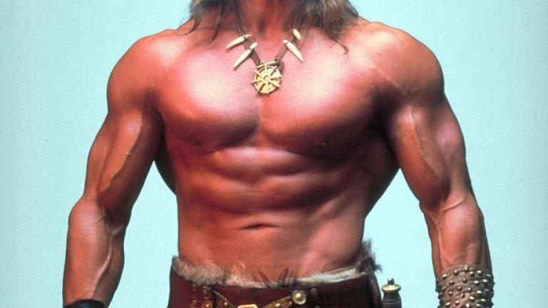 Портретна снимка на Арнолд като Конан Варварина.