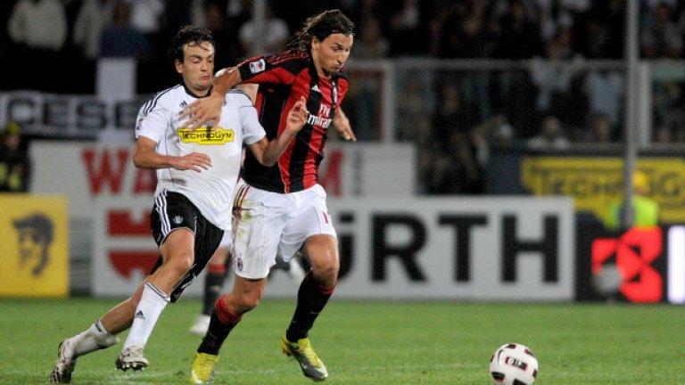 И шведският супернападател Златан Ибрахимович не успя да помогне на Милан срещу новака Чезена
