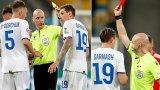 Топ английски съдия извади червен картон по погрешка в Шампионската лига (видео)