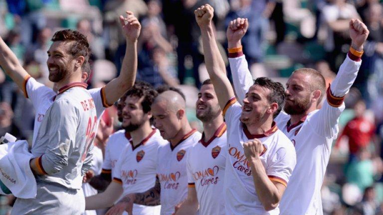 """Рома празнува 21-вата си победа за сезона в Серия """"А"""". Тимът е на прав път като стил, а големият Франческо Тоти каза, че такъв колектив в римския клуб не е имало от шампионския състав през 2001 г. Заслугата е основно на Руди Гарсия."""
