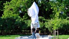 Така изглежда статуята на цар Самуил ден преди церемонията по официалното откриване