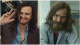 """Актьорът Дейвид Хериман играе лидера на култ Чарлс Менсън в две различни продукции, които се появиха това лято - във филма на Куентин Тарантино """"Имало едно време в... Холивуд"""" (вляво) и във втория сезон на сериала Mindhunter."""