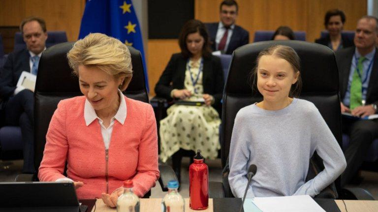 Активистката присъства на дискусии за климата в Европейския парламент в Брюксел