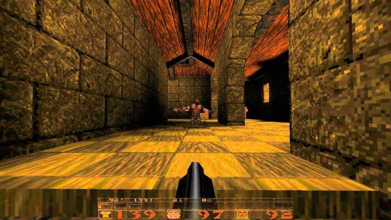 """Quake  Още един шутър от първо лице, произведен от iD Software. Тук обаче няма да бъдете запратени в бъдещето и в Космоса, а в миналото и по-точно в Тъмните векове, където ще се наложи да преборите злодей на име Quake. Подобно пътешествие е възможно, тъй като властите вече разполагат с машина на времето, която вие лично ще тествате.   Графиката е изненадващо добра за времето си (1996 г.), а готическата, мрачна и злокобна визия е истинско удоволствие, особено ако играете в затъмнено помещение. Разполагате и с възможност да избирате колко труден да е преходът ви през играта – лесно, средно по трудност, трудно и четвърта степен, наречена """"Кошмар"""". Заедно с Doom, за Quake се смята, че е сред компютърните игри, по които са оформени много съвременни екшън заглавия – и предназначени само за един играч, и отборни."""