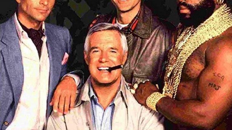 """The A-Team  Четирима бивши членове на специален отряд към американската армия са осъдени от военен съд за престъпление, което """"не са извършили"""". Те бягат от затвора и започват да работят като наемници, опитвайки се да изчистят името си. Напълно достатъчна основа за осемдесетарски екшън сериал, който в първите години след дебюта си (от 1982-а нататък) става много популярен, но с времето рейтингите падат и в крайна сметка на приключенията на героите е сложен край."""