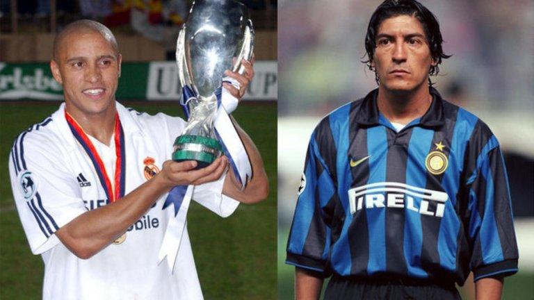 """Роберто Карлос в Реал Мадрид за Иван Саморано в Интер  Саморано беше сред най-желаните нападатели в европейския футбол през 1995 г., но в следващата година напусна Реал, след като започна да бъде изместван от изгряващия Раул. Чилиецът се присъедини към Интер на Рой Ходжсън, а в замяна на """"Бернабеу"""" заигра Роберто Карлос - за да се превърне в един от най-великите леви бекове в историята на футбола и да прекара над 10 години в Мадрид, през които да спечели куп трофеи.  Престоят на Саморано в Интер не беше пълен провал. Все пак той се запомни най-вече с решението на нападателя да заиграе с номер 18, но на фланелката му да има знак """"плюс"""" между цифрите 1 и 8. Причината? Номер 9 беше зает от Роналдо...  Победител: Реал Мадрид"""