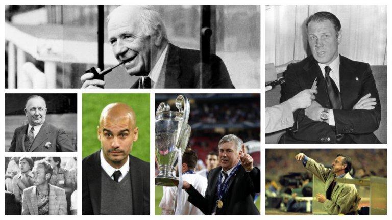 Според френското издание това са най-големите треньори във футболната игра. Къде се вписват все още действащите Пеп Гуардиола и Карло Анчелоти спрямо величията от миналото?