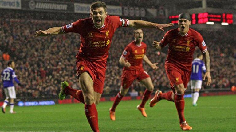 Поредната радост в дерби - това на града срещу Евертън. Има 33 дербита на Мърсисайд и 10 гола в тях.