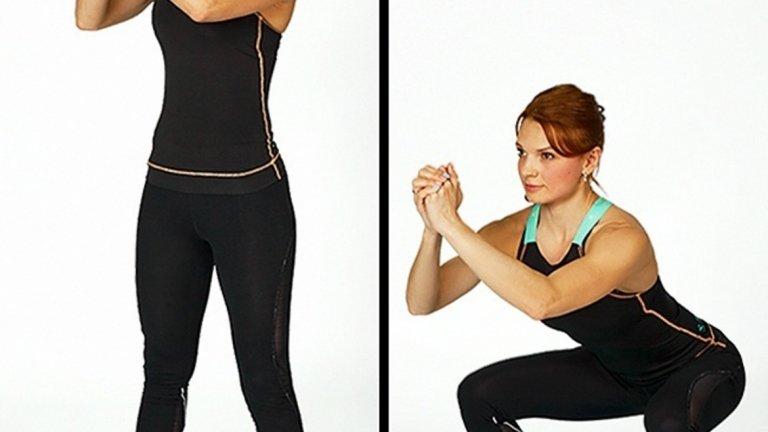 Клек. При клека без тежест е по-лесно новаците да обърнат внимание на важните моменти при изпълнение на движението, които важат за всички видове клякания. Старайте се гърбът ви да е изправен, а ръцете да са статични.
