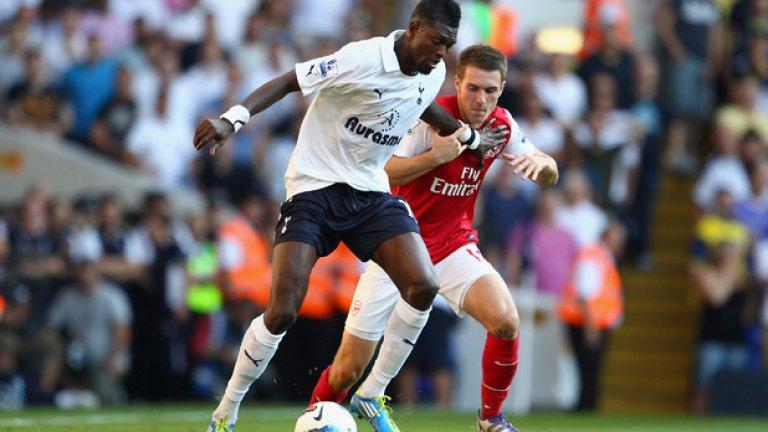 """Арсенал - Тотнъм 5:2 (Висша лига, 2012)  Това дерби на Северен Лондон започна с доминация на Спърс, които водеха с 2:0 до 34-ата минута. Още до края на полувремето обаче, наскоро отпадналият от Шампионската лига и ФА Къп Арсенал се надигна и успя да изравни чрез Бакари Саня и Робин ван Перси.  През втората част """"артилеристите"""" отнесоха съперника с нови три попадения, за да затворят 7-головия трилър, който беше и пряка битка за топ 4 в Англия."""