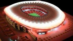 Колизеум през деня, стадионът ще заблести в цветовете на Атлетико вечер и по време на двубоите.