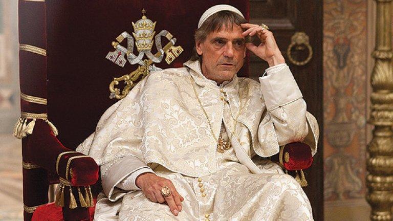 """""""Борджиите"""", Нийл Джордан   Отново Джеръми Айрънс влиза в ролята на герой с отрицателна харизма - този път в образа на корумпирания римски папа Александър VI / Родриго Борджия. Режисьорът е Нийл Джордън, създател на """"Интервю с вампир"""" и """"Закуска на Плутон"""". Сериалът е напрегнат и драматичен, с пищни костюми и забележителен саундтрак."""