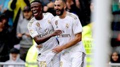 Бензема вкара два от головете за Реал през първото полувреме.