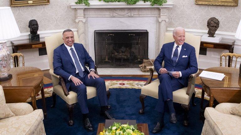 Байдън и Кадими по време на срещата си в Белия дом