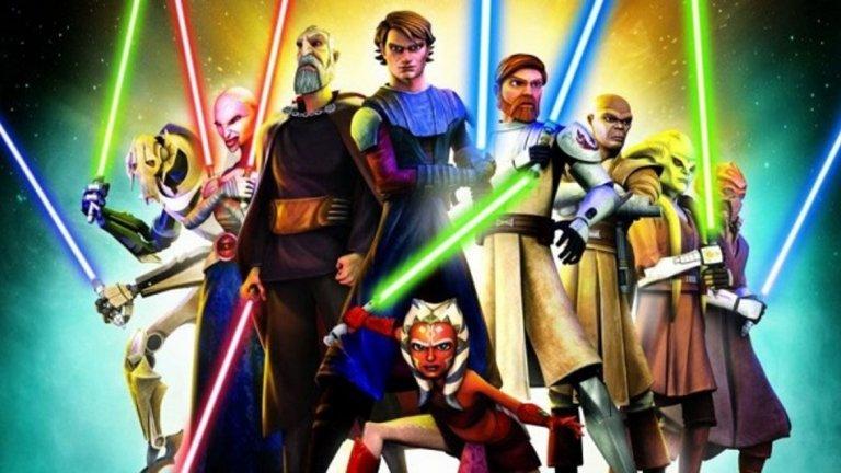 """Star Wars: The Clone Wars / """"Star Wars: Войната на клонингите""""  Анимационният сериал от вселената на """"Междузвездни войни"""" е повече от добро решение. От една страна, той разкрива какво се случва между епизод II - """"Клонираните атакуват"""" и епизод III - """"Отмъщението на Ситите"""", от друга е достатъчно интересен за всякакви възрасти. Така че, ако самата сага на """"Междузвездни войни"""" ви трогва, този сериал е перфектно решение за студените зимни дни, които да споделите със семейството или с приятели."""