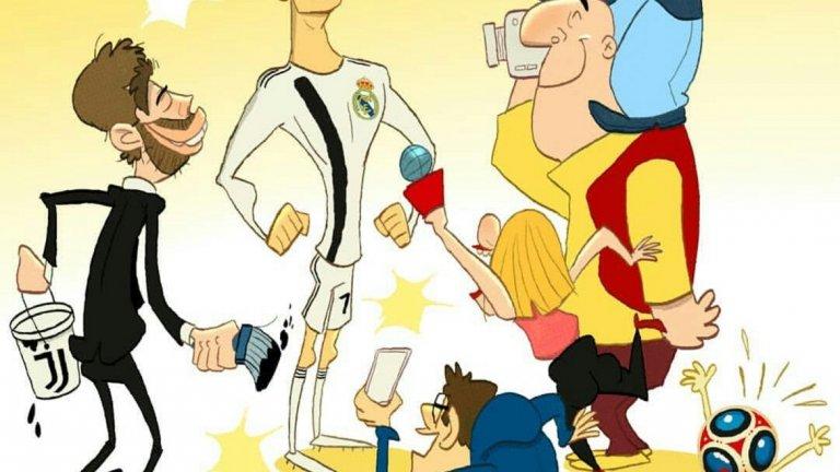 Кристиано Роналдо краде вниманието от Световното първенство след обявяването на трансфера му от Реал Мадрид в Ювнетус