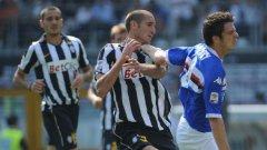 Дори и с такива прийоми Николо Поци от Сампдория си пробиваше път към вратата на Ювентус и успя да стане герой на мача, отбелязвайки два гола