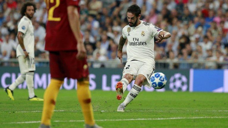 С идеално изпълнение на пряк свободен удар Иско даде преднина на Реал
