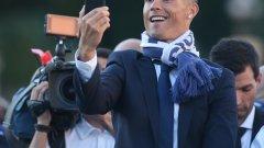Кристиано Роналдо по време на празненствата в Мадрид.