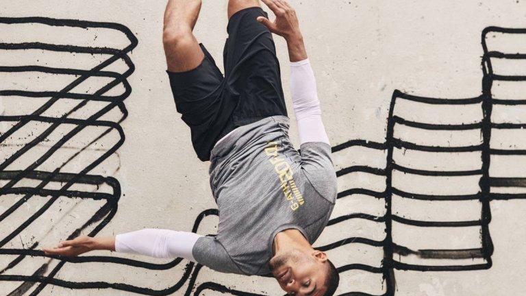 """Кадър от кампанията за """"New Routine"""" на H&M, заснета на фона на графитите на Revok"""