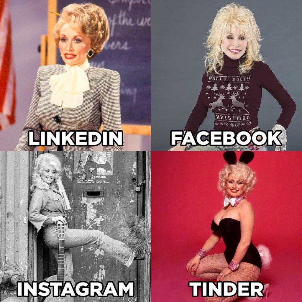 """Моят LinkedIn, моят Facebook...В началото на годината, което ни се струва сякаш преди цяла вечност, Доли Партън споделя четири свои снимки, сякаш са от четири нейни профила в социалните мрежи. Кадърът, който уж е от LinkedIn, е с официално облекло, този от Facebook е закачлив. Instagram снимката е артистична и """"инфлуенсърска"""", а тази от Tinder – палава и еротична.   Следват десетки звезди и още повече мемета, в които акцентът е един и същи – колко различни изглеждаме в отделните ни профили из социалните платформи. И как май понякога се престараваме и се стига до абсурди като LinkedIn с дизайнерски костюм, но пък Tinder по едно голо… желание."""