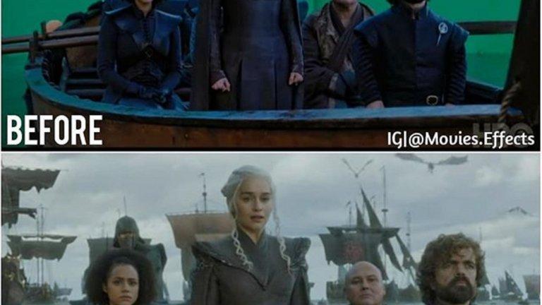 """Сцената от финала на шести сезон на """"Game of Thrones"""" не изглежда толкова впечатляваща, когато актьорите са поставени в малка лодка в средата на студио."""