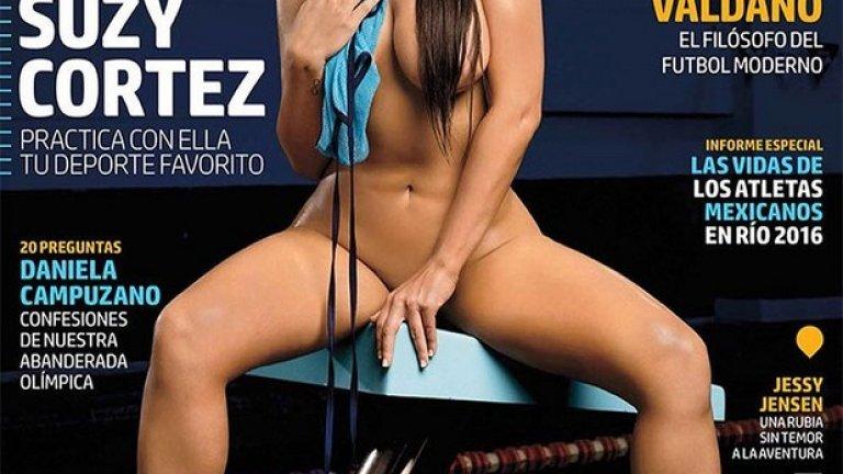 """Мис """"Бум-бум"""" продължава да показва красотите си. Сузи Кортес изгря на корицата на Playboy в специално издание за олимпийските игри."""