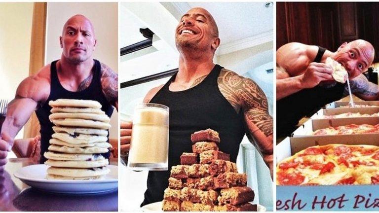 Снимките от тренировъчни сесии на Скалата са тотална Instagram мания, диетите му с по 5000 хиляди калории на ден винаги влизат в заглавията, а специалните му палачинки са малка кулинарна легенда.
