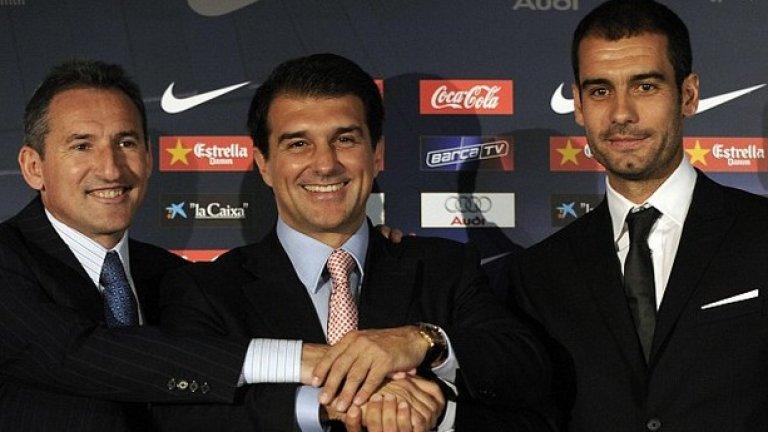 Представянето на Пеп като треньор на Барселона през 2008, заедно с него са президентът на клуба Жоан Лапорта и Бегиристайн