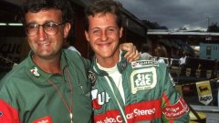Еди Джордан през 1991 с дебютанта в неговия отбор за Гран при на Белгия Михаел Шумахер
