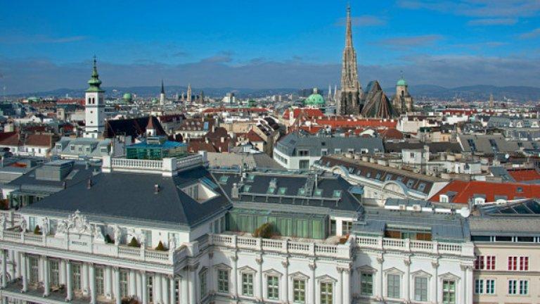 """2. Виена, Австрия   Столицата на Австрия също запазва позицията си от миналогодишната класация. Общата оценка на Виена е 97,4, като по различните категории тя е разбита на: """"сигурност"""" - 95; """"здравеопазване"""" - 100; """"култура и околна среда"""" - 94,4; """"образование"""" - 100; """"инфраструктура"""" - 100."""