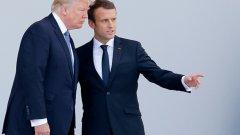 """Френският президент Еманюел Макрон иска да изгради """"Европа, която защитава"""", но САЩ е готов да се изправи срещу подобна защитна политика"""