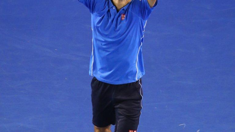 И за финал Ноле Джокович в момент, каквито сърбинът често има  в Мелбърн. Фаворитът за титлата при мъжете бе безпощаден по пътя към финала.