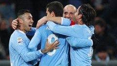 Бразилецът Ернанес (в средата) отбеляза първия гол за успеха на Лацио