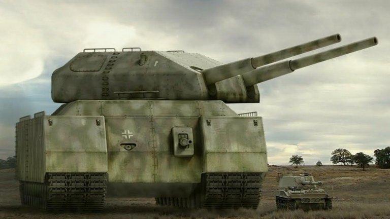 """1. Panzer 1000 """"Ratte""""   Танковете са доказали своята ефективност по време на Втората световна война и Адолф Хитлер е искал да затвърди своите позиции със създаването на най-големия сред тях – Landkreuzer Panzer 1000. Самият Хитлер му слага прякора """"Плъх"""" (Ratte). По план машината е щяла да тежи 1000 тона и да е дълга 35 метра. Танкът е трябвало да може да събира в себе си 40 войника, обградени от 360 мм броня.  Машината трябва да е 10 пъти по-голяма от всеки друг танк по това време. Множество проблеми обаче пречат """"Ratte"""" да стане реалност – няма начин танкът да бъде транспортиран до всяка точка и няма пътища, които да издържат тежестта му. Освен това той няма да може да маневрира така, че да се измъкне от опасност – без значение колко противовъздушни оръдия има по себе си (по план е трябвало да има 8)."""