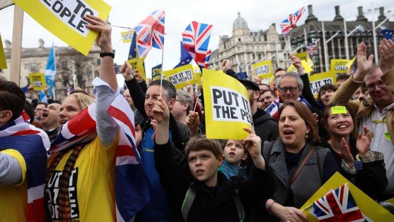 Протестиращите настояват за втори референдум за това дали Великобритания да напусне ЕС