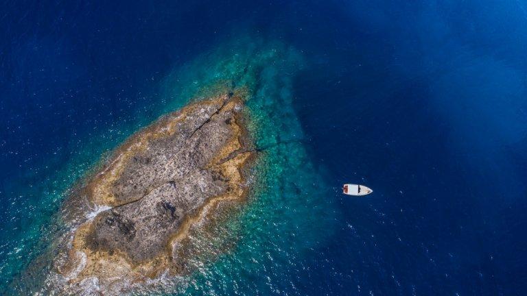 Остров Заноне, гледан от птичи поглед