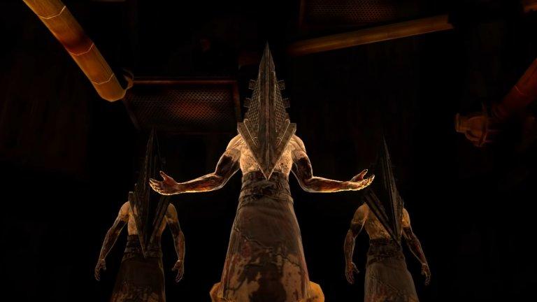 Pyramid Head (Silent Hill)>  Silent Hill реално представлява едно интроспективно пътешествие и борба с вътрешните демони. Истинската опасност обаче бива олицетворена по гротескен начин от Pyramid Head. Той се появява спорадично в играта като всеки път брутализира всичко пред себе си по плашещо зловещ начин, което го превръща и в символ на цялата поредица.