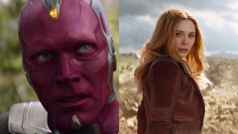 """WandaVision  Сериалът на Marvel с най-странното име дължи заглавието си на двамата основни персонажи. Става дума за Уанда Максимоф, позната и като The Scarlet Witch, която направи своя дебют в """"Avengers: Age of Ultron"""" (2016) и синтетичният организъм The Vision, който """"оживя"""" в същия филм.   Последната им до момента поява беше в """"Avengers: Infinity War"""" (2018), където стана ясно, че двамата имат връзка. В ролите отново ще бъдат Елизабет Олсън и Пол Бетани."""
