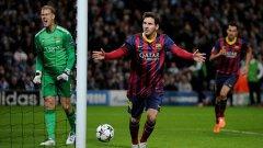 Лионел Меси стана най-резултатният футболист в историята на Шампионската лига, като вече има 74 попадения в една 91 мача.