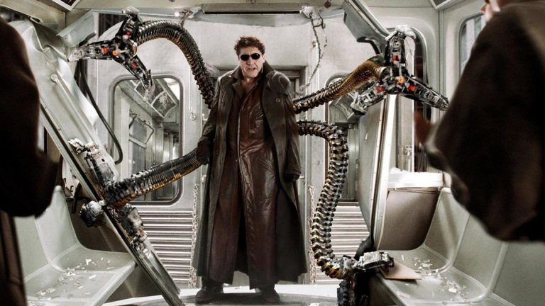 """Д-р Октопус в нереализирания """"Спайдър-мен""""  В средата на 90-те години Джеймс Камерън (""""Терминатор"""", """"Титаник"""", """"Аватар"""") работи по идея за екранизация на комиксите за Спайдър-мен. По-популярна е втората му идея за сценария, според която злодеи ще са Електро и Сандмен. В най-ранния вариант обаче Човекът-паяк трябва да се изправи срещу разполагащия с четири механични пипала д-р Октпус, а за ролята Камерън предвижда именно Шварценегер. Проектът така и не се реализира, може би за добро. Но акцентът на Арнолд може би щеше да е от полза при персонаж с истинско име Ото Октавиус."""