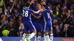 Челси ликуваше след двата гола на Азар и отново държи титлата в ръцете си